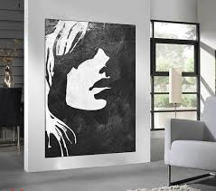 black white minimalist abstract painting woman face silhouette large acrylic painting black and white on black woman silhouette wall art with black white minimalist abstract painting woman face silhouette