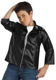 rockabilly boy s black jacket costume close up view