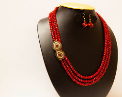 Crystal Beads Necklace Designs In Gold 3 Stranded Red Opaque Crystal Necklace With Side Pendants