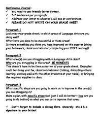 parent teacher conference letters parent teacher conference letter student self reflection by