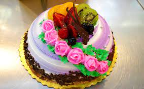 Beautiful fruit cake decorated with ...