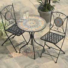 2 person 60cm cairo mosaic bistro garden furniture set folding metal bistro chairs uk