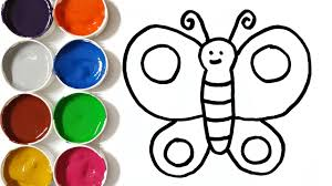 Learn Colors With Drawing And Coloring Pages Butterfly For Kids