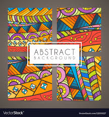 Intricate Patterns Classy Set Of Four Colorful Intricate Patterns Doodle Vector Image