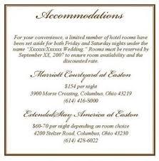 Wedding Invitation Accommodation Wording How To Word Hotel