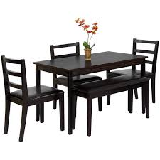 best choice s 5 piece wood dining table set w bench 3 chairs