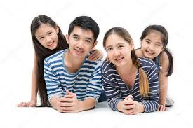 healthy asian family smiling and lying on isolated white background happy family stock photo