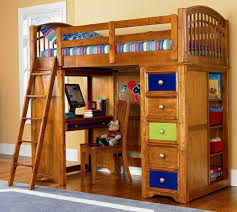 Wood Bunk Bed Desk Combo