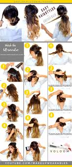 easy updo hairstyles for dirty greay hair everyday braids ponytail messy bun
