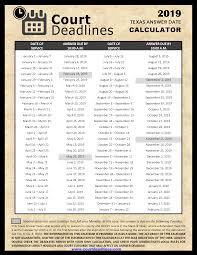 Texas Courts Chart 2019 Texas Answer Date Chart Legal Deadline Calculator