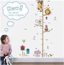 Height Chart Cartoon Animals Lion Monkey Owl Elephant Height Measure Wall Sticker For Kids Rooms Growth Chart Nursery Room Decor Wall Art Baby Girl