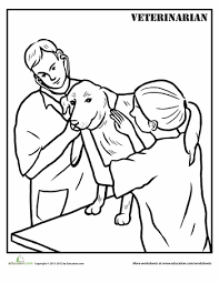 Click on the coloring page to open in a new widnow and print. Veterinarian Worksheet Education Com Coloring Pages Community Helpers Theme Veterinarian