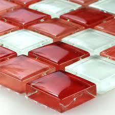 Mosaikfliesen Glasmosaik Weiss Rot 25x25x8mm - TM33035m