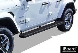 aps iboard running boards 6 matte black custom fit 2018 jeep wrangler jl sport utility