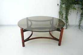 vintage mid century rattan bamboo smoked glass large round coffee table at top full size