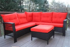 amazoncom patio furniture. Oliver Smith - Large 4 Pc High Back Rattan Wiker Sectional Sofa Set Outdoor Patio Furniture Aluminum Frame With Ottoman 9514 Red Amazoncom E
