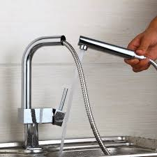 Kitchen 360 Swivel Tap Stream Pull Out Spout Kitchen Sink Faucet