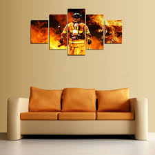 printed with aaa top quality canvas this is a wonderful gift for your friends or you might want to keep it for yourself and show it off in your living  on wall art canvas picture print with firefighter wall art canvas print home decor set 5 piece fire rescue
