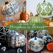 paint a pumpkin with damask stencil patterns