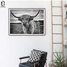 australia wall art posters and prints black white highland cow canvas painting picture for living room on home decor wall art au with australia wall art posters and prints black white highland cow
