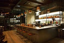 contemporary bar counter area at hinoki bird restaurant with