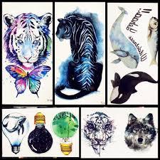 3d временная татуировка животное синий тигр бабочка кит для мальчиков и девочек