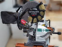 hitachi 10 miter saw. i simply upgraded to a 12\u201d slider on permanent miter saw station, so can part with this sweet setup hitachi 10