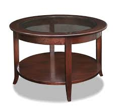 furniture leick varnished wood small round coffee table with glass white top bu