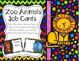 First Grade Job Chart Zoo Animals Job Chart Cards