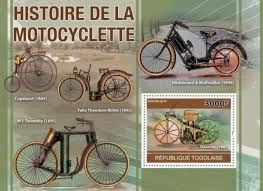 <b>Souvenir</b> - Togo <b>Souvenir</b> Sheet - <b>Antique</b> Motorcycles - Stamp 20H ...