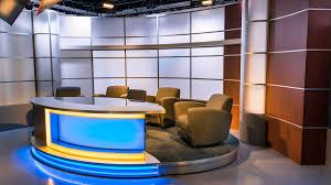 Tv studio furniture Broadcast Console Anchor Desk Strong Set Design Background Tv Set Designs Complete Strong Set Pictures Tv Set Designs