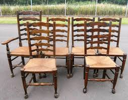 image of ladder back chairs with rush seat set of 6