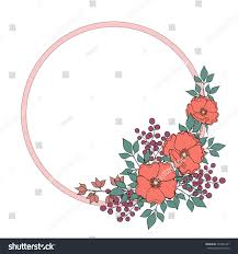 Decorative bright round border with wild rose flowers, berries and leaves.  Vector EPS 10