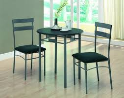 Table With Two Chair Using Black Upholstered Seat With Small Dining