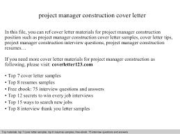 Sample Construction Cover Letters Project Manager Construction Cover Letter