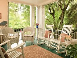 country white painted oak wood rocking chairs which mixed with vintage wicker armchairs front porch