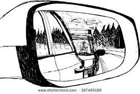 hand mirror sketch. Vector Illustration With Traffic In Car Mirror. Hand Drawn Ink Sketch. Black And White Mirror Sketch