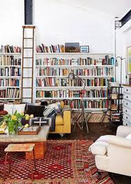 Furniture: Small Home Library With Ladder - Home Libraries
