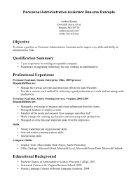 sample resume templates for administrative assistants resume sample resume template for personal administrative professional experience