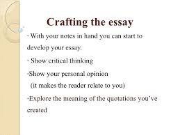 critical thinking in college writing  11 crafting the essay