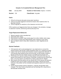 behavior intervention plan template sample management plan