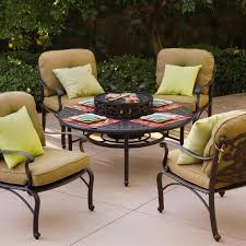 Ice Bucket Table Darlee Catalina 5 Piece Cast Aluminum Patio Fire Pit Seating Set