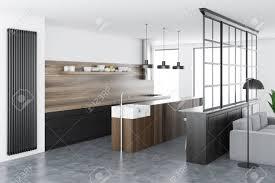 Grey Wood Floor White Kitchen