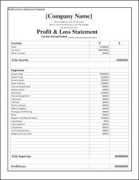 Profit Loss Template Excel Monthly Profit And Loss Statement Template Excel Metabots Co
