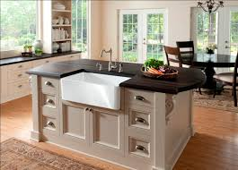 farm style kitchen island. french country kitchen decoration with farm style island sink unit, deep espresso laminate wood