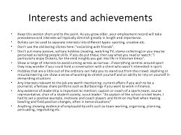 cv and examples of activities interests