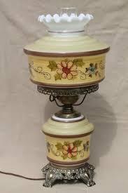 quoizel vintage hurricane chimney lamp w painted milk glass shade lighted lamp base
