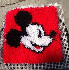 mickey mouse latch hook rug wall hanging vintage walt disney world coolness on 18 00