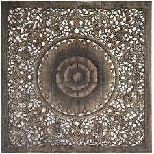 mandala carved wood wall art panel