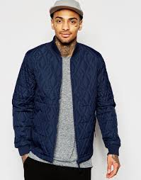 Asos Bomber Jacket With Diamond Quilt In Navy in Blue for Men | Lyst & Gallery Adamdwight.com